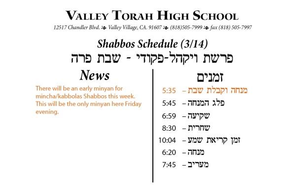 Shabbos Parashas Vayakhel-Pikudei