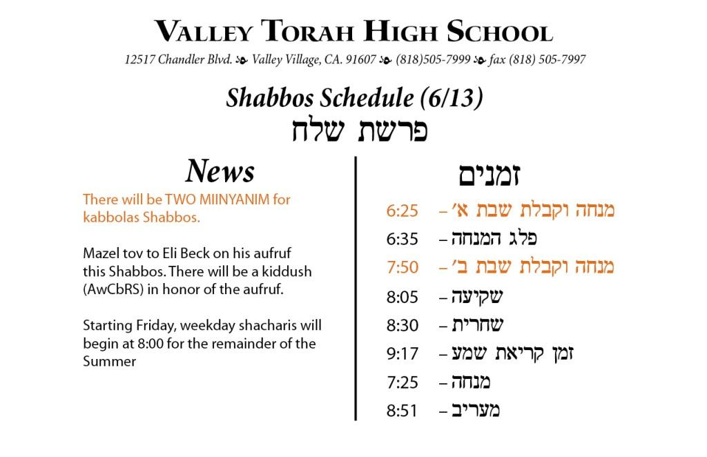 Shabbos Parashas Shelach 5775