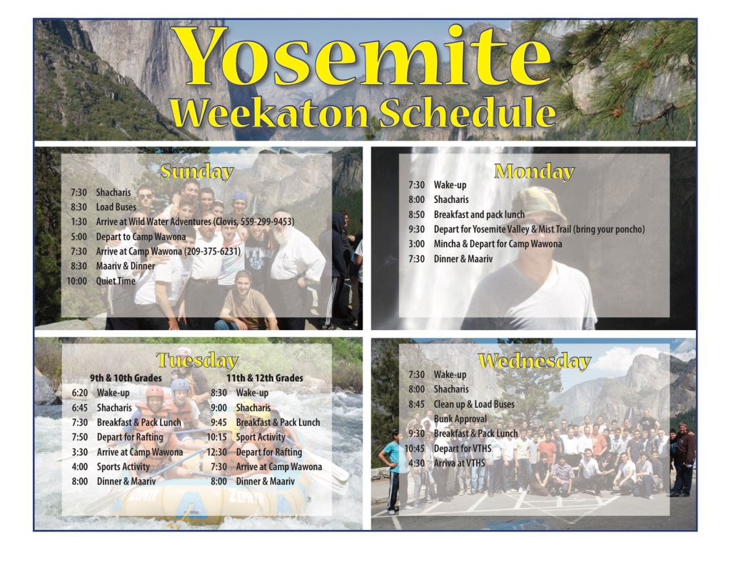 Yosemite Schedule 2016