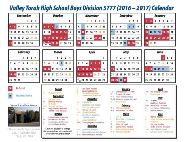 Calendar - boys 16-17